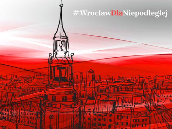 grafika biało-czerwona z napisem #WrocławDlaNiepodległej