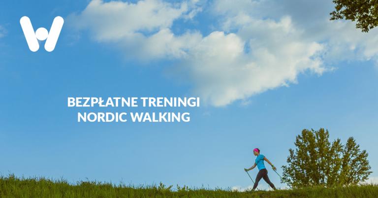 na zdjęciu widoczna kobieta idąca z kijkami, napis bezpłatne treningi nordic walking