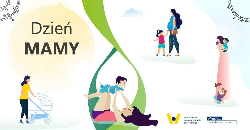 rysunki mam - kobieta w ciąży, kobieta z wózkiem, kobieta bawiąca się z dzieckiem, kobieta stojąca z dzieckiem