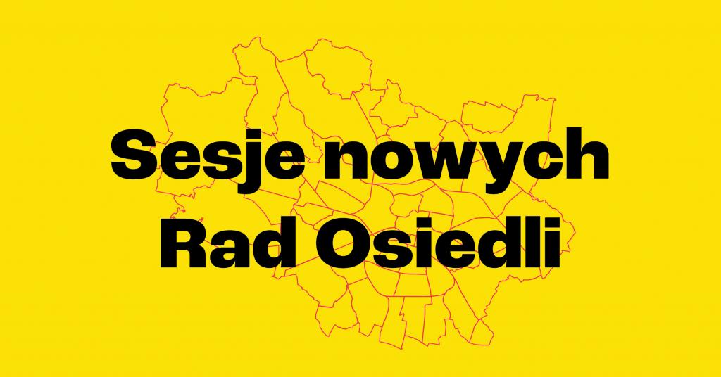 żółte tło na nim czerwone kontury kształtu Wrocławia podzielonego na osiedla, duży napis przykrywający częściowo mapę sesje nowych rad osiedli